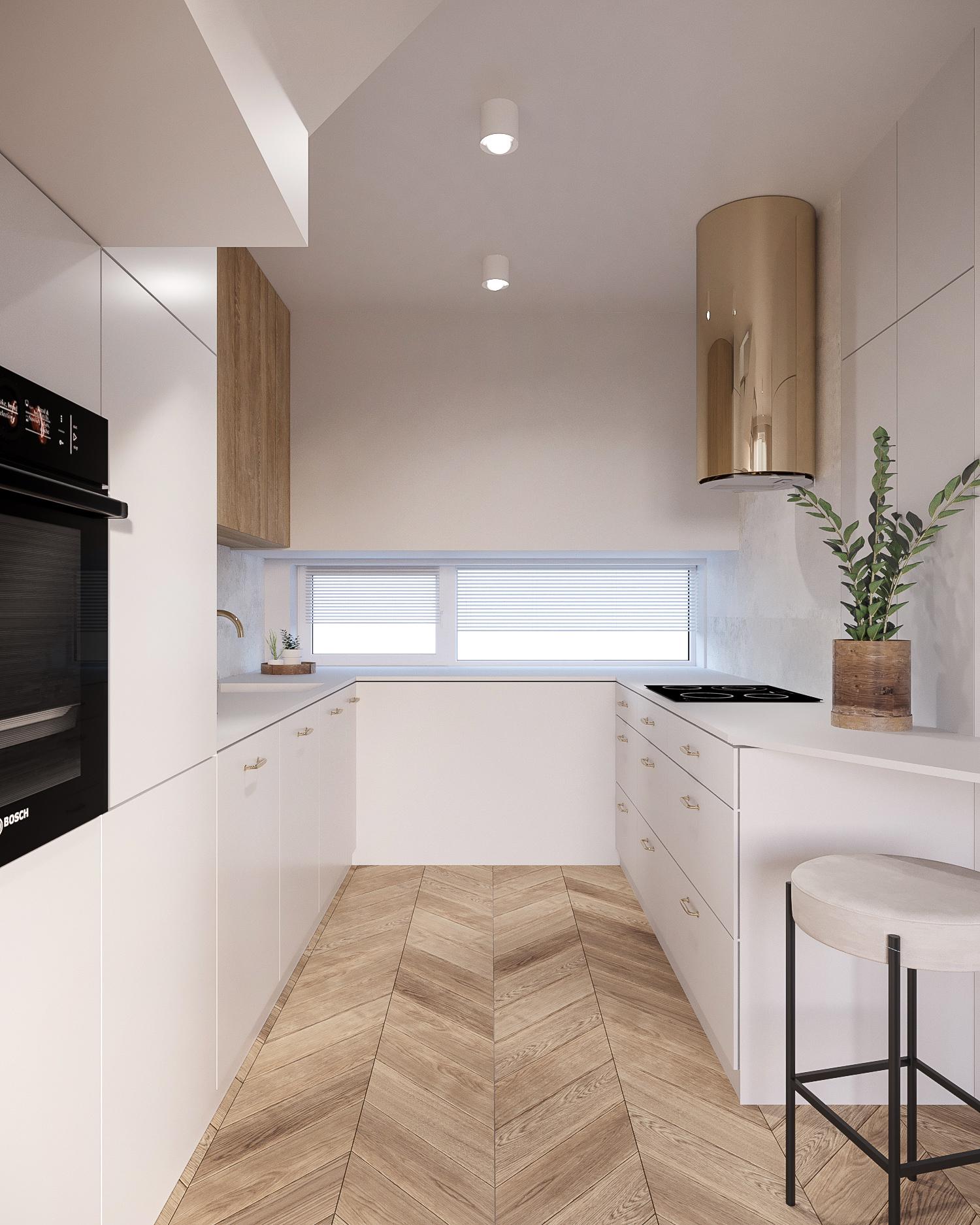 6 projektant wnetrz 482 mieszkanie krakow kuchnia parkiet w jodelke biale meble zloty okap blat z hokerem