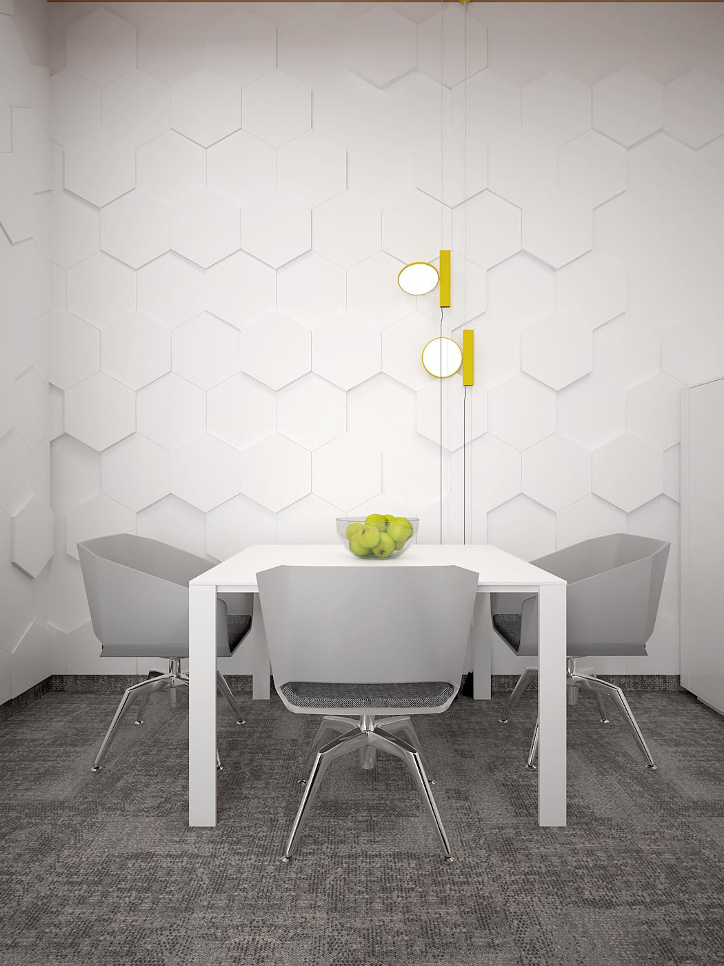 7 aranzacja biura 485 biuro krakow gabinet miejsce spotkan bialy stolik szare krzesla panele 3d szara wykladzina