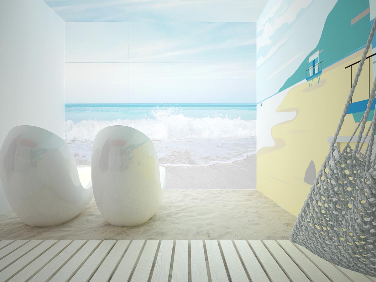 7 projekt biura 489 strefa rekreacyjna piasek na podlodze podswietlana sciana z motywem morza kapsuly do spania