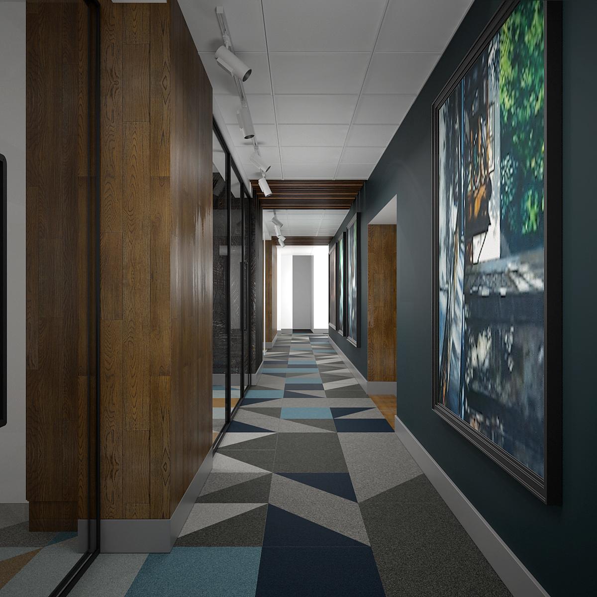 7 projekt biura 547 Kancelaria warszawa korytarz wykladzina w geometryczne wzory plyta meblowa na scianie czarna sciana z duzymi obrazami
