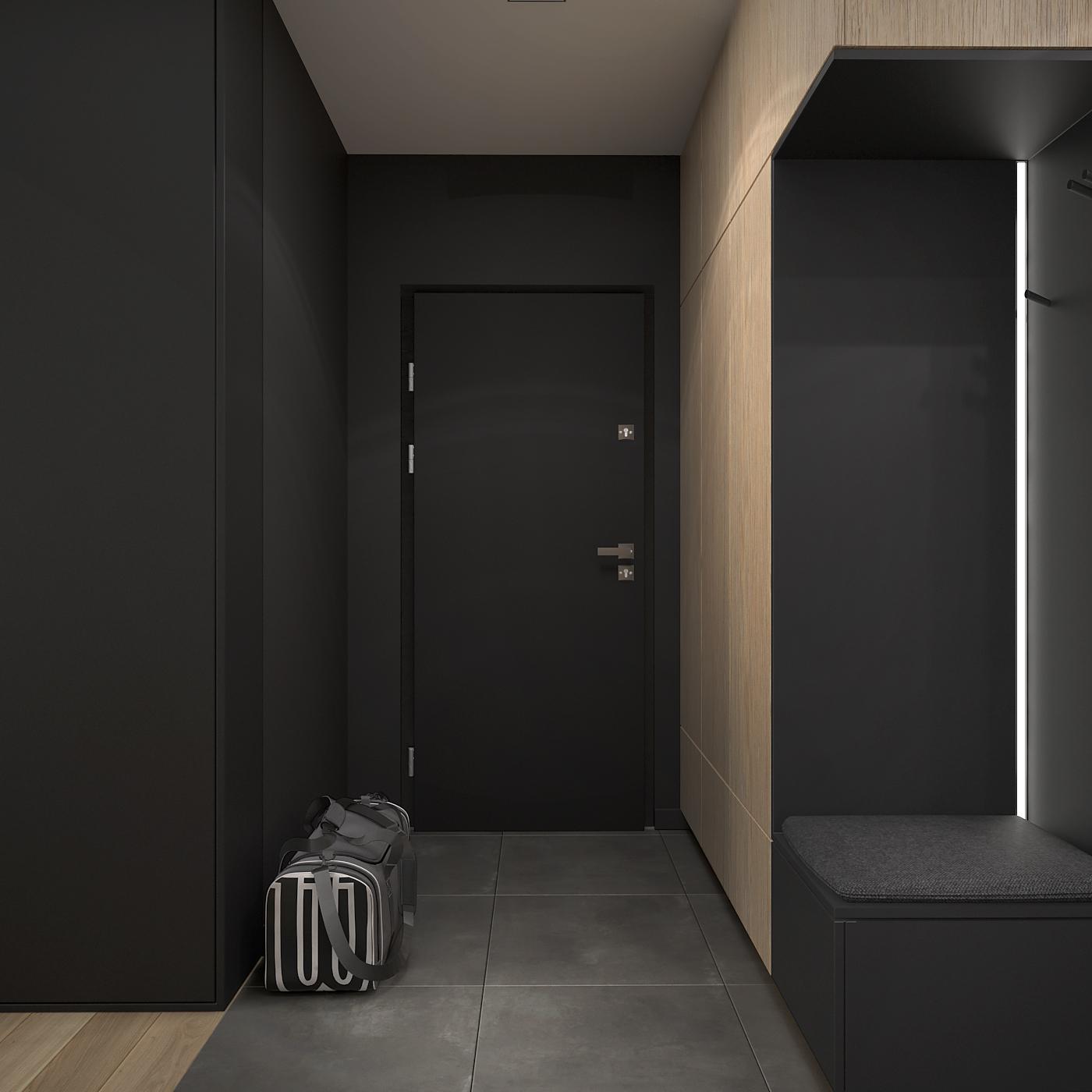 7 projekt wnetrza 537 mieszkanie krakow korytarz czarne drzwi czarna zabudowa czarne siedzisko z podswietleniem