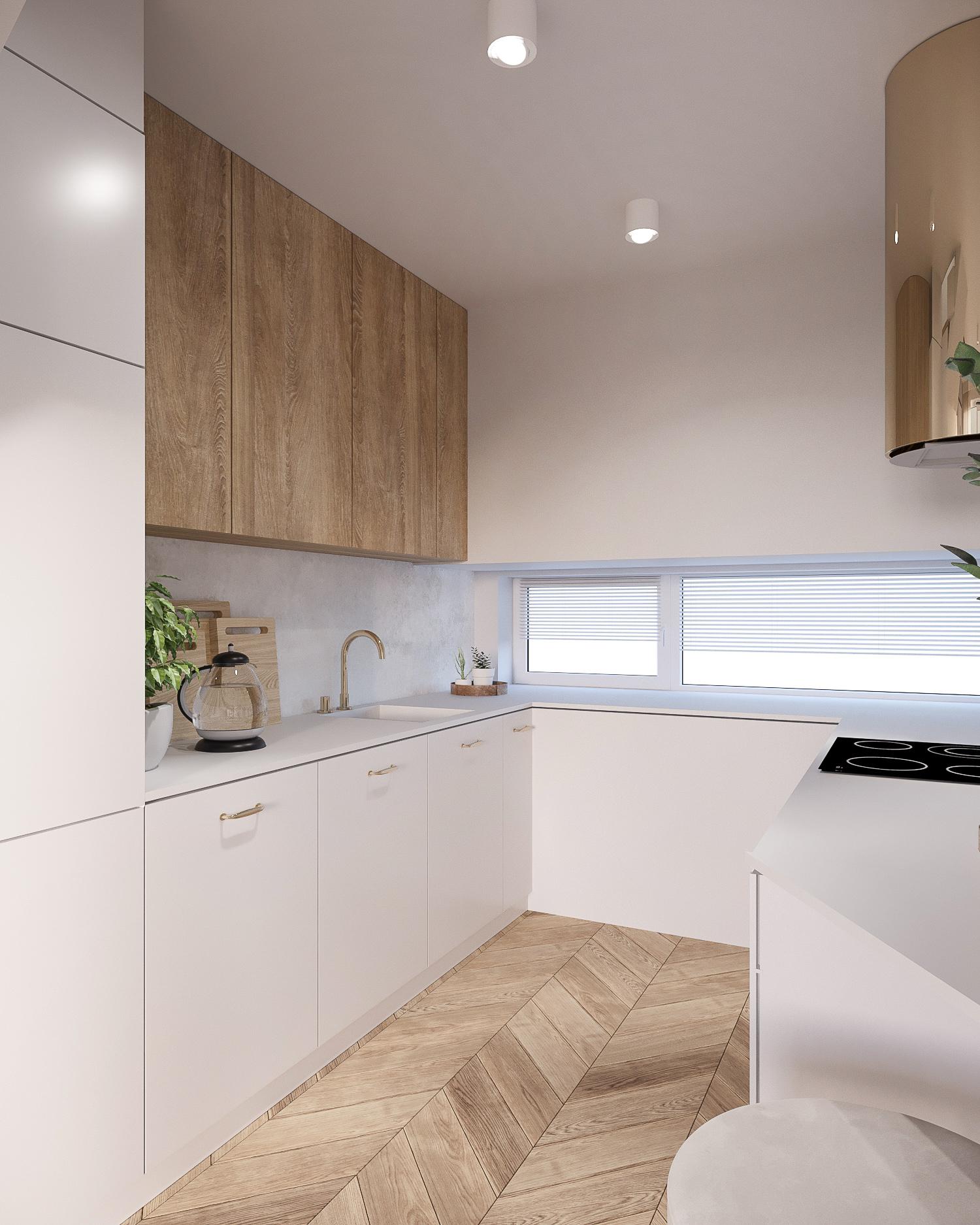 7 projektant wnetrz 482 mieszkanie krakow kuchnia biala zabudowa z elementami drewna zloty okap parkiet w jodelke