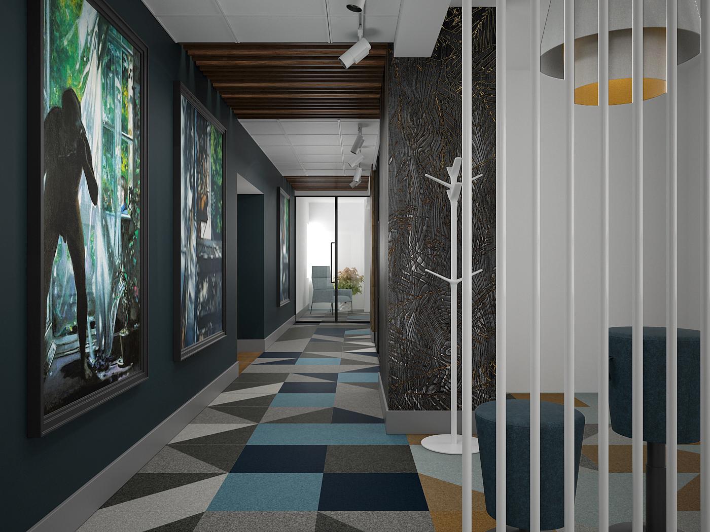 8 projekt biura 547 Kancelaria warszawa korytarz wykladzina w geometryczne wzory plyta meblowa na scianie czarna sciana z duzymi obrazami azurowa biala scianka