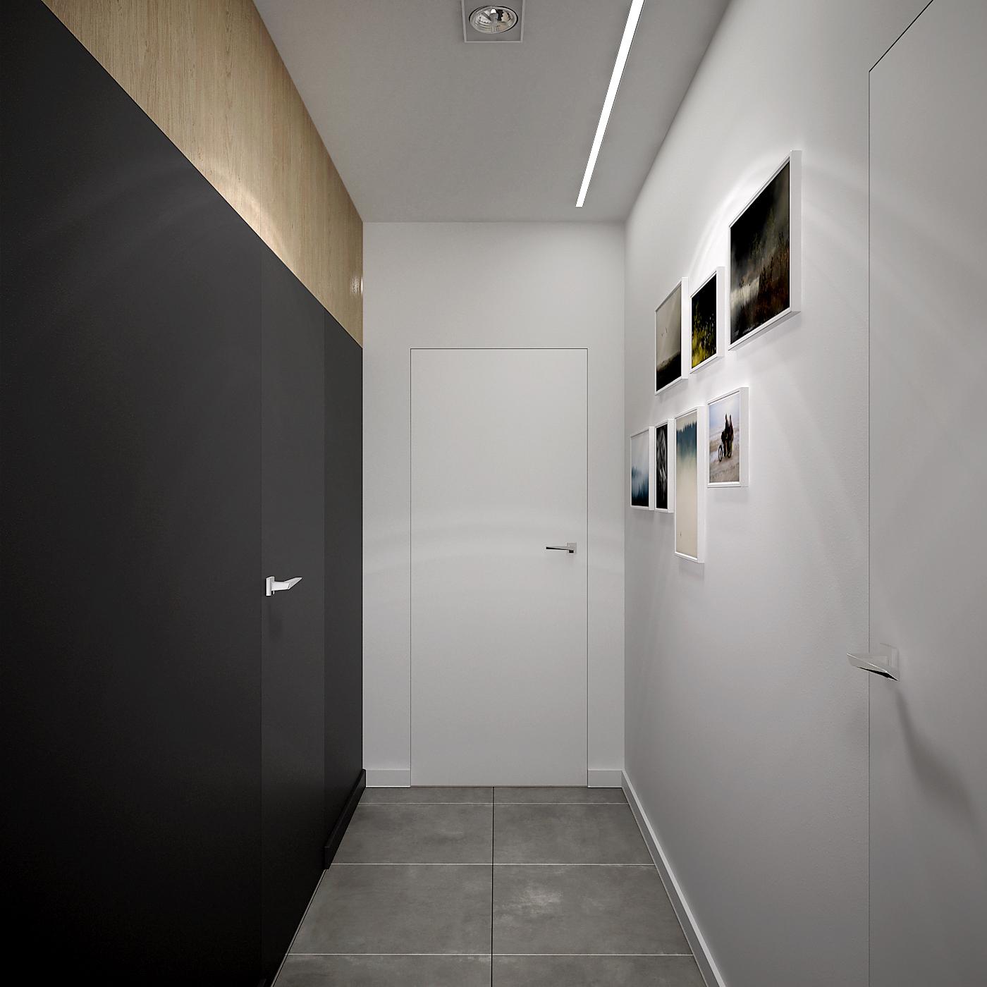 8 projekt wnetrza 537 mieszkanie krakow korytarz ukryte drzwi polaczenie czerni i bieli oswietlenie liniowe podtynkowe