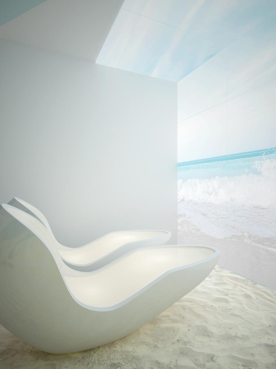 9 projekt biura 489 strefa rekreacyjna kapsuly do relaksu podswietlana sciana i sufit z motywem morza piasek na podlodze