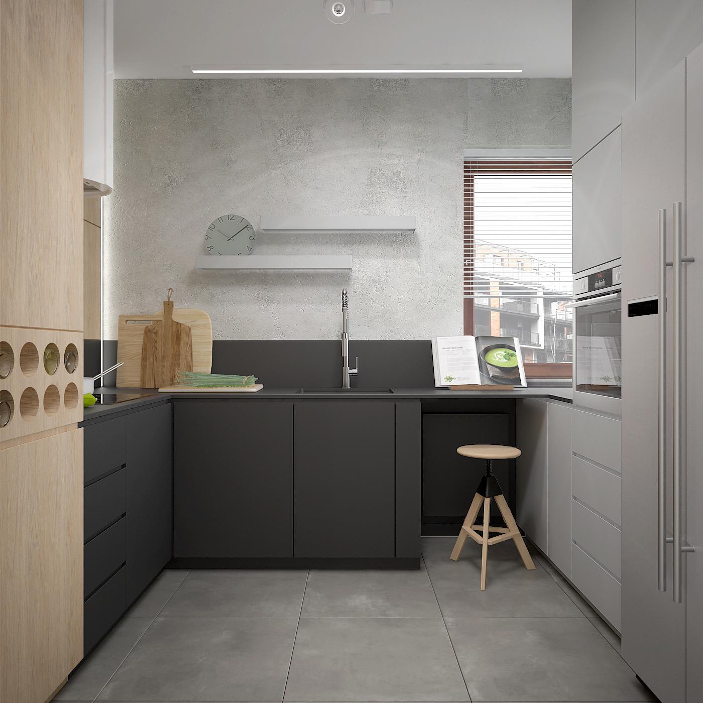 9 projekt wnetrza 537 mieszkanie krakow kuchnia betonowa podloga polka na wina czarny zlew wpuszczany w blat betonowa sciana