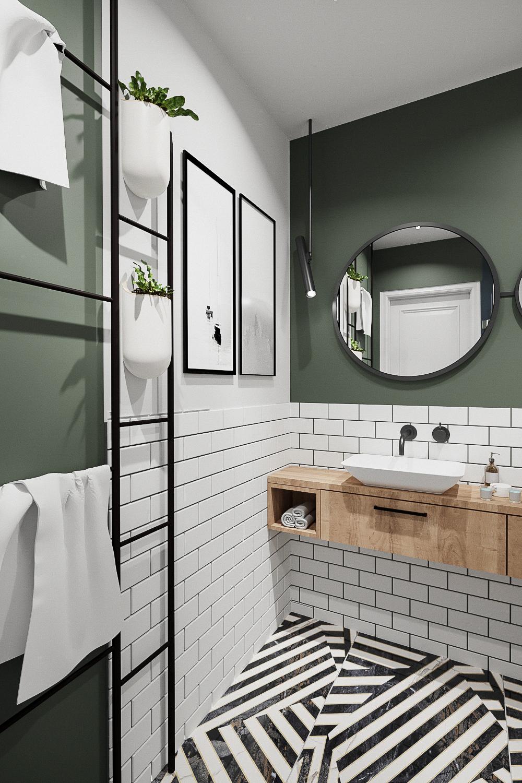 9 projektant wnetrz 482 mieszkanie krakow lazienka drabinkowe wieszki czarne dodatki zielona sciana biala ceglana plytka